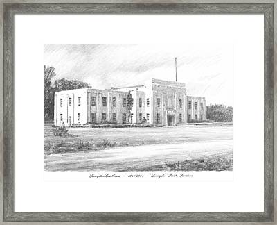Courthouse Four Livingston Parish La Drawing Framed Print by Mike Theuer