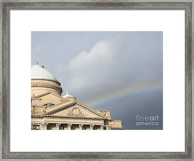 Courthouse Rainbow Framed Print by Christina Verdgeline