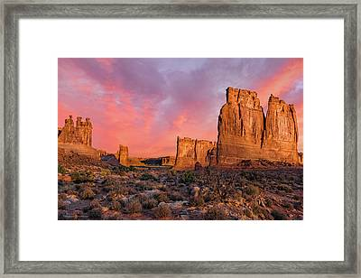 Framed Print featuring the photograph Courthouse Towers And Three Gossips by Expressive Landscapes Fine Art Photography by Thom