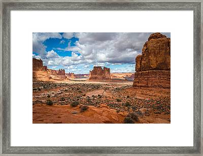 Courthouse Towers At Arches National Park Framed Print by James Udall