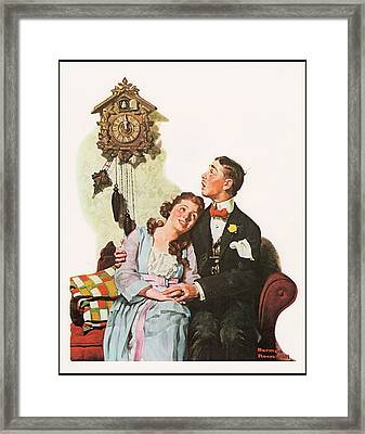 Courting Couple At Midnight Border Framed Print by Norman Rockwell