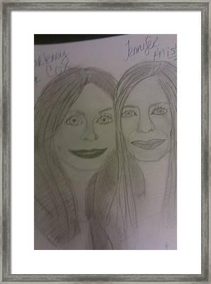 Courtney Cox And Jennifer Ansiton Framed Print