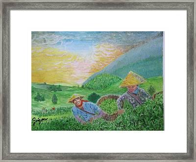Courtship At The Tea-farm Framed Print by SAIGON De Manila