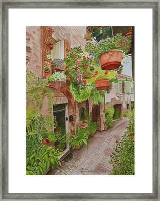Courtyard Framed Print by C Wilton Simmons Jr