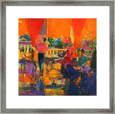 Courtyard Cafe   Tunis Framed Print by Peter Graham