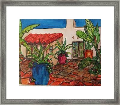 Courtyard In Rancho Santa Fe Framed Print by Michelle Gonzalez