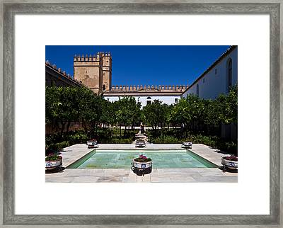 Courtyard In The Castle, Alcazar De Los Framed Print