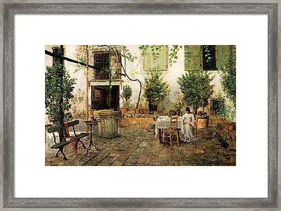 Courtyard In Venice Framed Print
