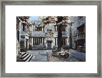 Framed Print featuring the digital art Courtyard Of Skipton Castle by Pennie McCracken
