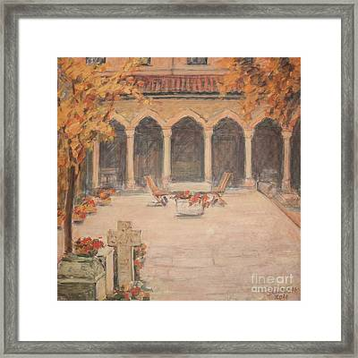 Framed Print featuring the painting Courtyard Of Stravopoleos Church by Olimpia - Hinamatsuri Barbu
