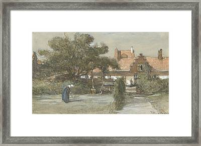 Courtyard Of The Heilige Geesthofje At The Paviljoensgracht In The Hague Framed Print
