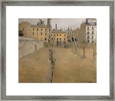 Courtyard Of The Old Barcelona Prison Framed Print by Ramon Casas