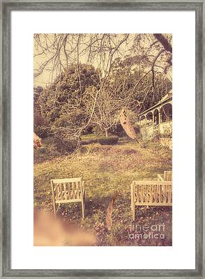 Courtyards Of Autumn Romance Framed Print