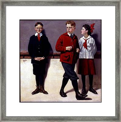 Cousin Reginald Spells Peloponnesus Framed Print by Norman Rockwell