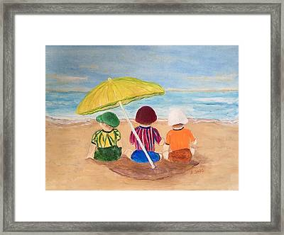Cousins At The Beach Framed Print