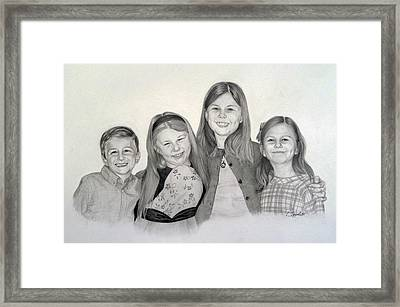 Framed Print featuring the drawing Cousins  by Lori Ippolito