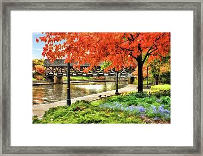 Covered Bridge Along Riverwalk Framed Print