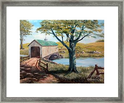 Covered Bridge, Americana, Folk Art Framed Print