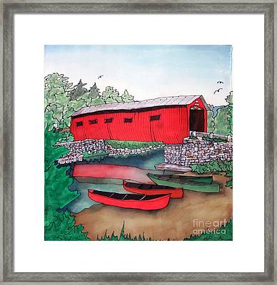 Covered Bridge And Canoes Framed Print by Linda Marcille