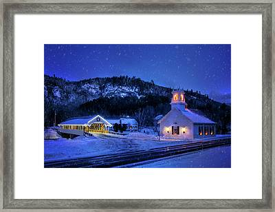 Covered Bridge And White Church - Stark, Nh Framed Print