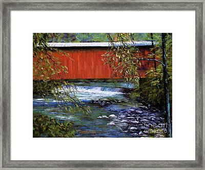 Covered Bridge And  Wissahickon Creek Framed Print by Joyce A Guariglia