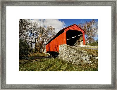 Covered Bridge At Poole Forge Framed Print by William Jobes