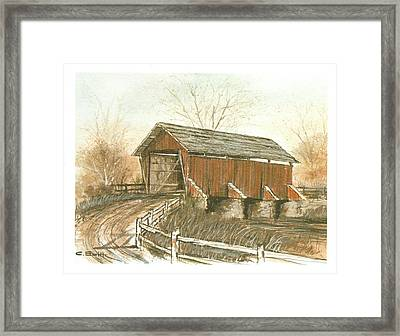 Covered Bridge Framed Print by Charles Roy Smith