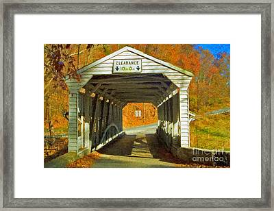 Framed Print featuring the photograph Covered Bridge Impasto Oil by David Zanzinger