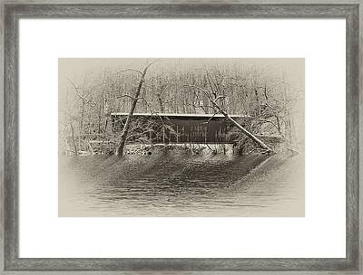 Covered Bridge In Black And White Framed Print by Bill Cannon