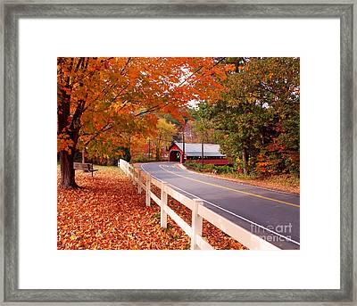 Covered Bridge In Brattleboro Vt Framed Print