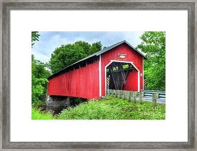 Covered Bridge In Canada Framed Print by Mel Steinhauer