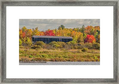 Covered Bridge In Foliage Framed Print by Roger Lewis