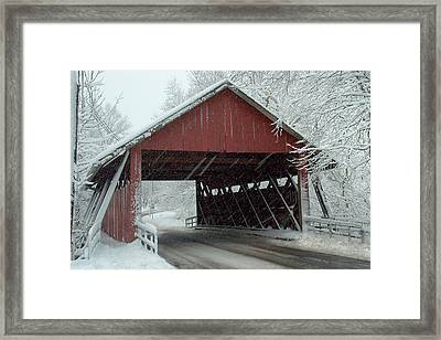 Covered Bridge In Snow Framed Print