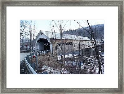 Covered Bridge In Southern Vermont Framed Print by John Power