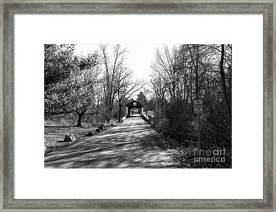 Covered Bridge In The Distance Mono Framed Print