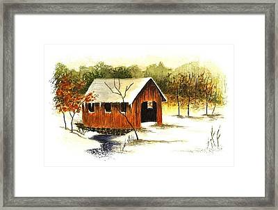 Covered Bridge In The Snow Framed Print by Michael Vigliotti