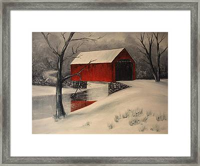 Covered Bridge In The Snow Framed Print by Rosie Phillips