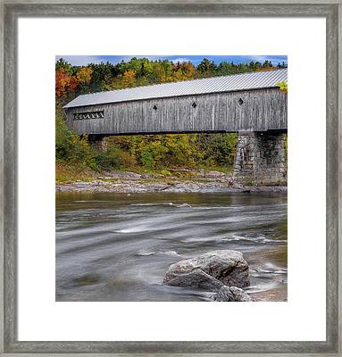 Covered Bridge In Vermont With Fall Foliage Framed Print