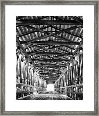 Covered Bridge Interior Knights Ferry Ca Framed Print by Troy Montemayor