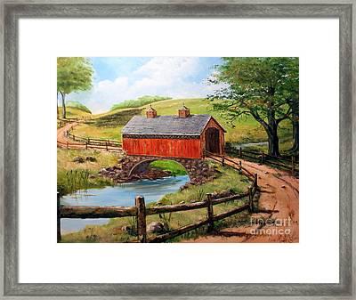 Covered Bridge Country Farm Folk Art Landscape Framed Print
