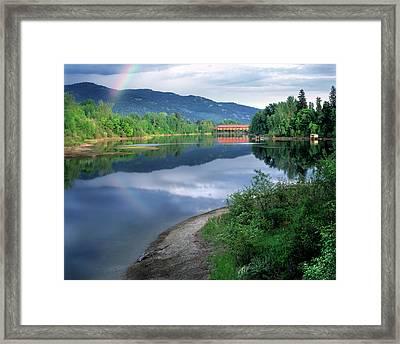 Covered Bridge Framed Print by Leland D Howard
