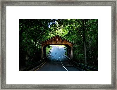 Framed Print featuring the photograph Covered Bridge by Onyonet  Photo Studios