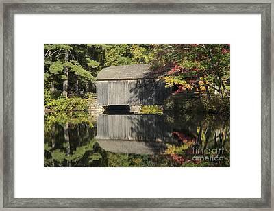 Covered Bridge Reflection Framed Print by Bob Phillips