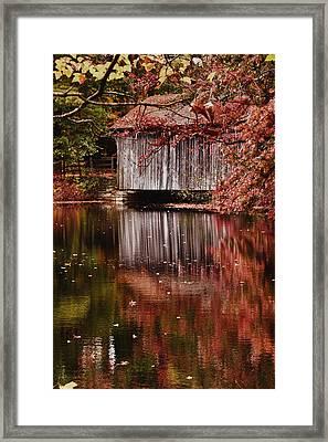 Covered Bridge Reflection Framed Print by Jeff Folger
