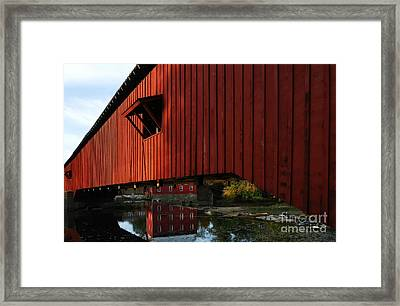 Covered Bridge Reflections Framed Print by Mel Steinhauer
