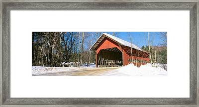 Covered Bridge, Stowe, Winter, Vermont Framed Print by Panoramic Images