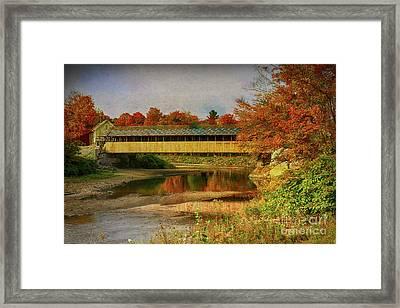 Covered Bridge Vermont Autumn Framed Print by Deborah Benoit