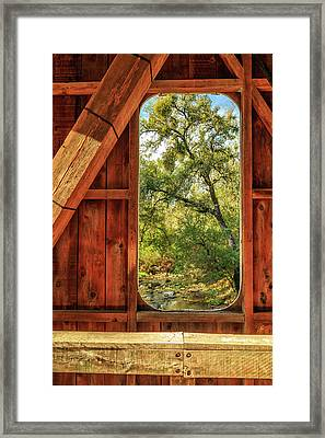 Framed Print featuring the photograph Covered Bridge Window by James Eddy