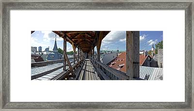 Covered Bridge With St Olafs Church Framed Print by Panoramic Images