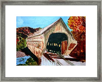 Framed Print featuring the painting Covered Bridge Woodstock Vt by Donna Walsh